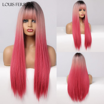 LOUIS FERRE Black Pink Red Wigs Cosplay Long Straight Ombre Synthetic Wig With Bangs for Women Afro Heat Resistant Fibre - discount item  57% OFF Synthetic Hair