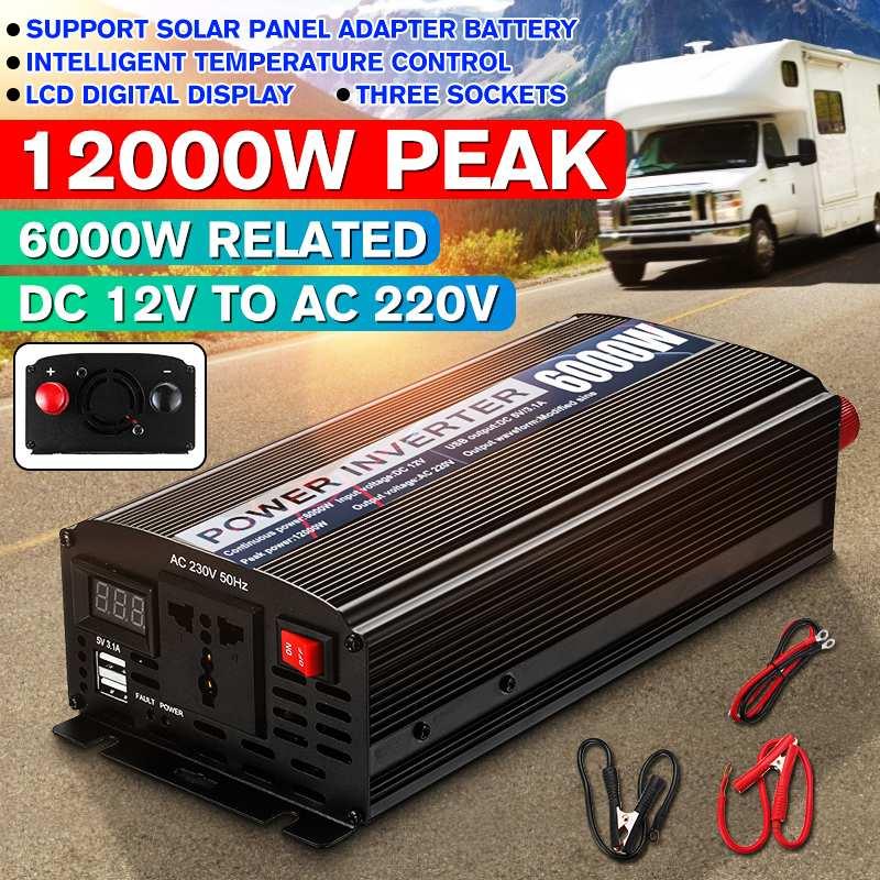 12000W Peaks Car Inverter 12V 220V 6000W LED Display 2 USB Modified Sine Waves Powers Inverter Voltage Convertor Transformer