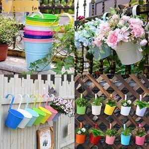 Image 4 - Macetas de Metal para colgar en la pared macetas de Metal para jardín, maceta para flor, decoración del hogar, 10 Uds.