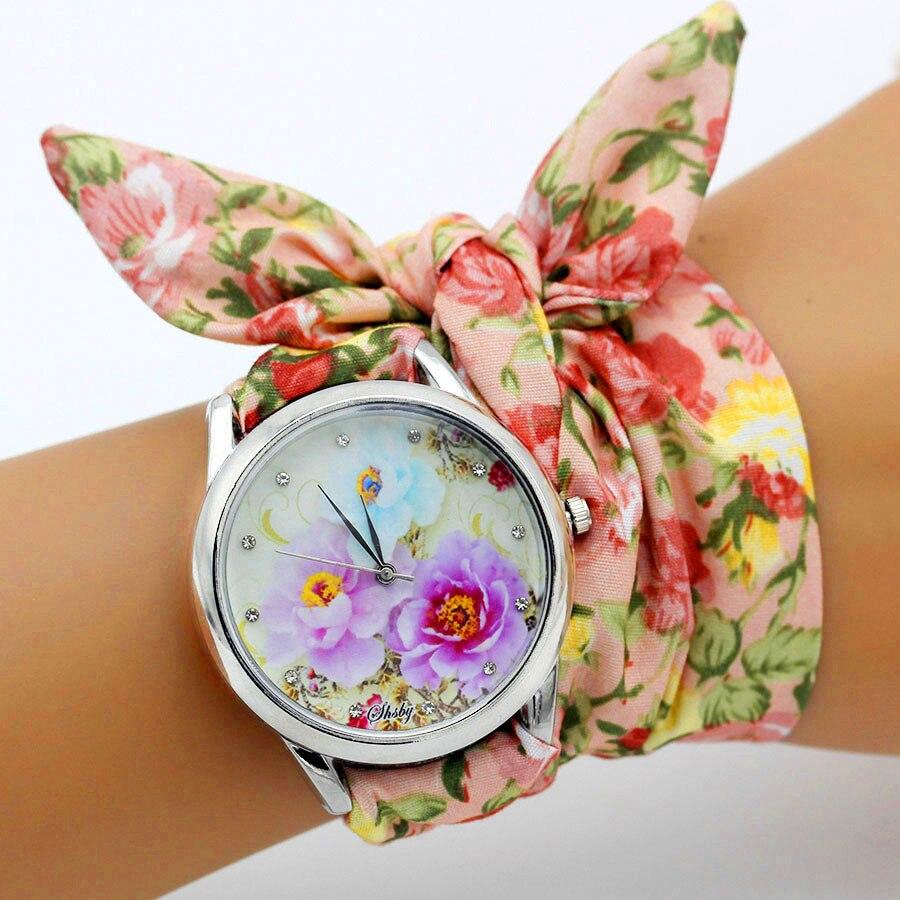 de pulso feminino vestido relógios tecido relógio