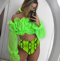 Women Mesh Push-up Padded Swimwear Beachwear Bikini Set Off Shoulder Long Sleeve Crop Top High Waist Snake Skin Swimsuit Bathing