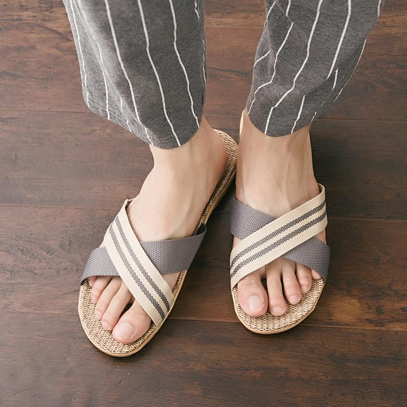 Men Summer Linen Slippers Fashion Striped Fabric Home Slippers Anti-slip Indoor Leisure Slides House Floor Slippers Size 40-45