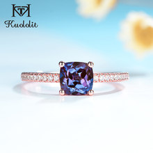 Kuololit – bague en pierre précieuse d'alexandrite 585 pour femmes, en or rose, avec coussin en argent Sterling 925, de luxe, pour fiançailles