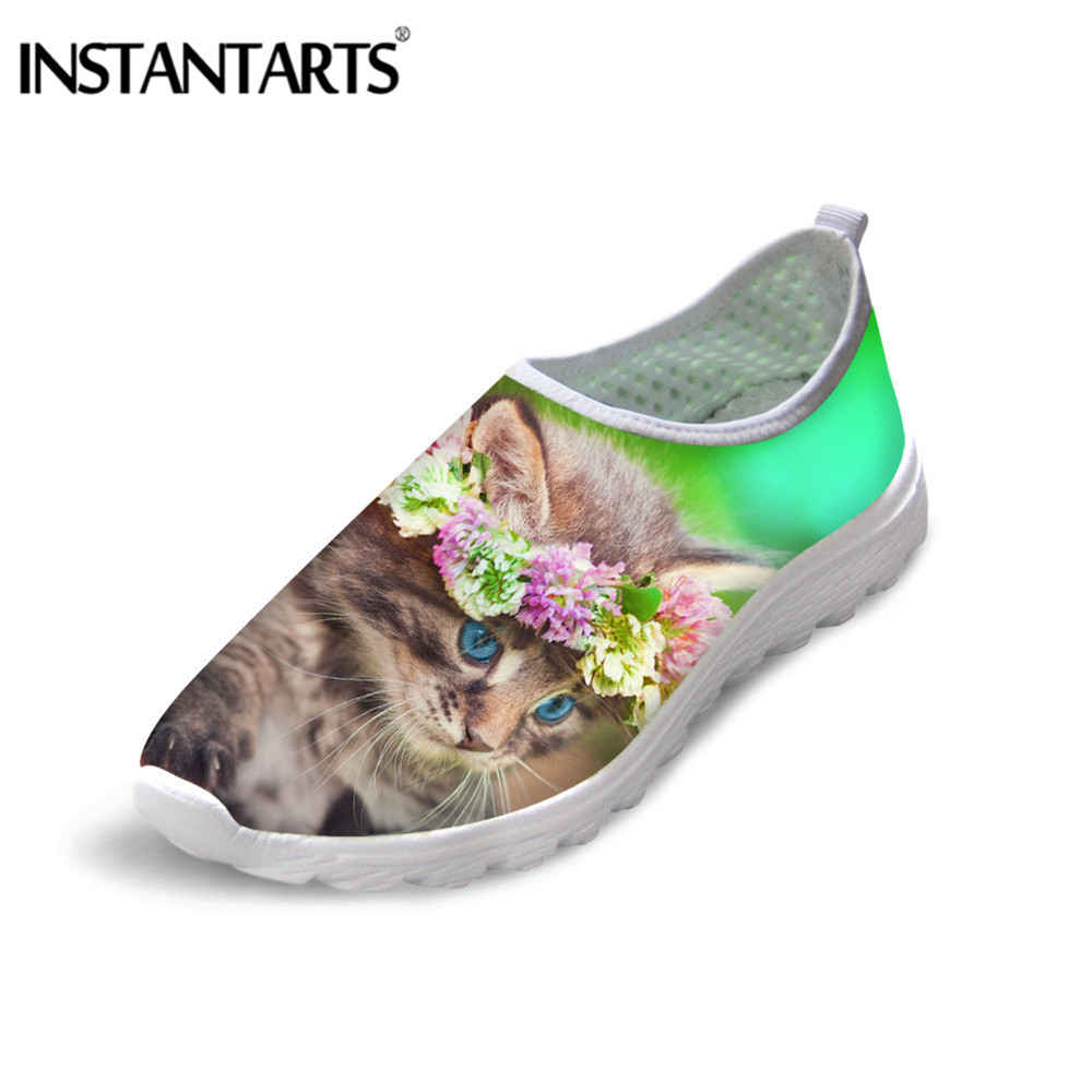 INSTANTARTS Women Casual Shoes Cute Cat Print Flat Shoes for Ladies Leisure Breathable Slip on Mesh Sneakers Mujer Zapatos 2020 thumbnail