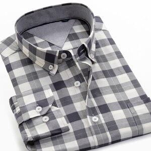 Image 4 - حجم كبير 5XL 6XL 7XL 8XL 9XL 10XL 2020 الرجال طويلة الأكمام 100% تي شيرتات قطن الأعمال فضفاض عادية قمصان مربعة النقش الذكور ماركة الملابس