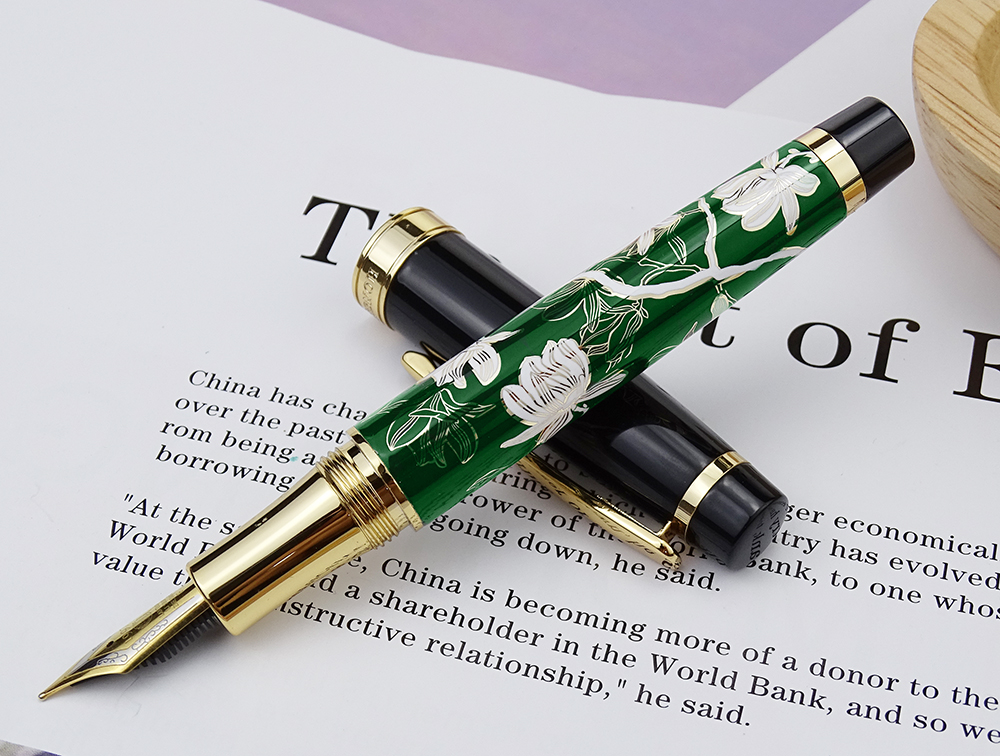 Image 2 - HongDian Metal Fountain Pen Hand Drawing Green Flowers Iridium Fine / Bent Nib Ink Pen Excellent Writing Gift Pen for Business-in Fountain Pens from Office & School Supplies