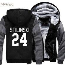 цена Wolf Stilinski 24 Men Sweatshirt 2018 New Winter Warm Thick Fleece Zip Up Hooded Hoodies TV Show Jacket Coat Sportwear Male 5XL