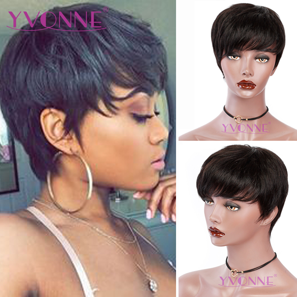 YVONNE Short Human Hair Wig Straight Pixie Cut Wigs For Women Brazilian Virgin Hair Machine Made Wigs With Natural Color