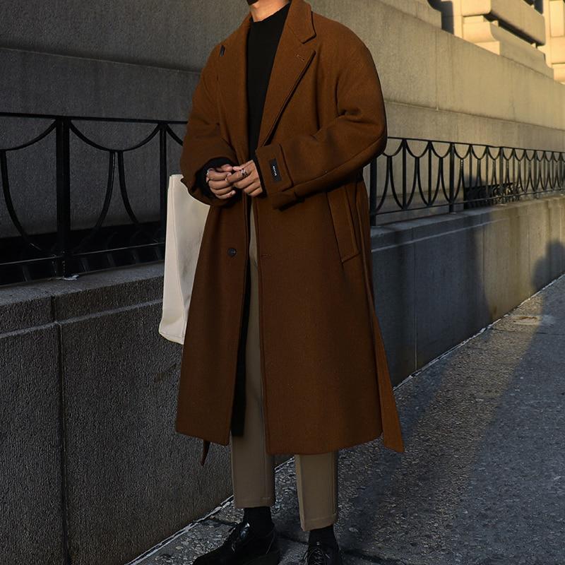 YASUGUOJI Korean Fashion Single Breasted Long Coat Men Thicken Warm Wool Coat Mens Winter Trench Coat With Belt Manteau Homme