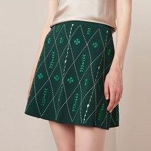 ハイウエスト花刺繍スカートの女性夏 ボトムニットスカート Tunjuefs Lingge