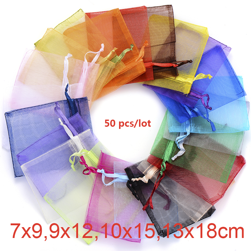 50pcs Organza Bags 7x9 9x12 10x15 13x18cm 22 Colors Wedding Gift Party Drawable Bag Jewelry Display Packaging Jewelry Pouches