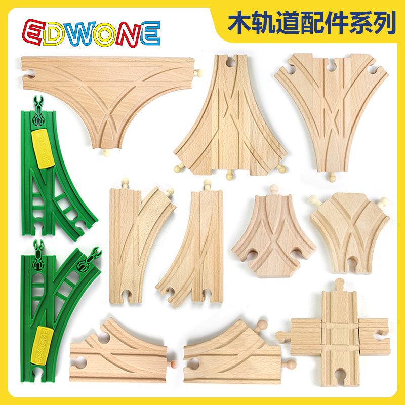 12 Styles Diy Beech Train Track Accessories Railway Compatible With Normal Brand Wodden Rail Toys For Children Kids Xmas Gift
