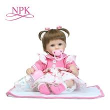 цена NPK 40cm New silicone reborn baby doll toy girls brinquedos birthday gift for kid vinyl newborn babies dolls lifelike онлайн в 2017 году