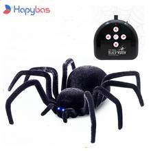 Télécommande électronique pour animaux de compagnie, Simulation de la brillance des yeux de tartula, araignée noire intelligente 4Ch Halloween RC, farce délicate, jouet effrayant, cadeau