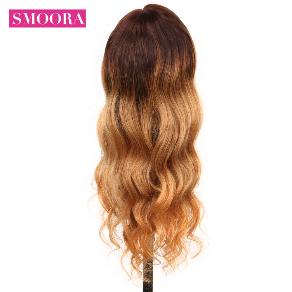 Ombre Lace Front Wigs #4/27 Mix Honey Blonde Brown Body Wave 13x4 Lace Front  Wigs Mongolian Non  Hair 150% Densit 4
