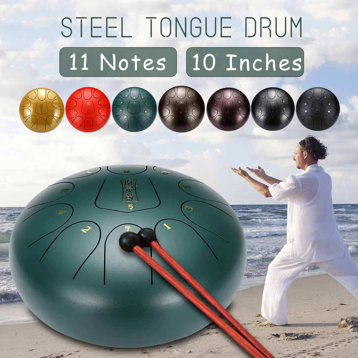 10 Inch 11 Notes D Major Steel Tongue Drum Handpan Hand Tankdrum with Drumsticks with Finger Cots Yoga Meditation Zazen Relax
