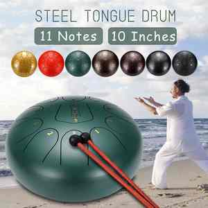 Drumsticks Finger-Cots Tongue-Drum Meditation Handpan Zazen Steel 10inch Major with 11-Notes