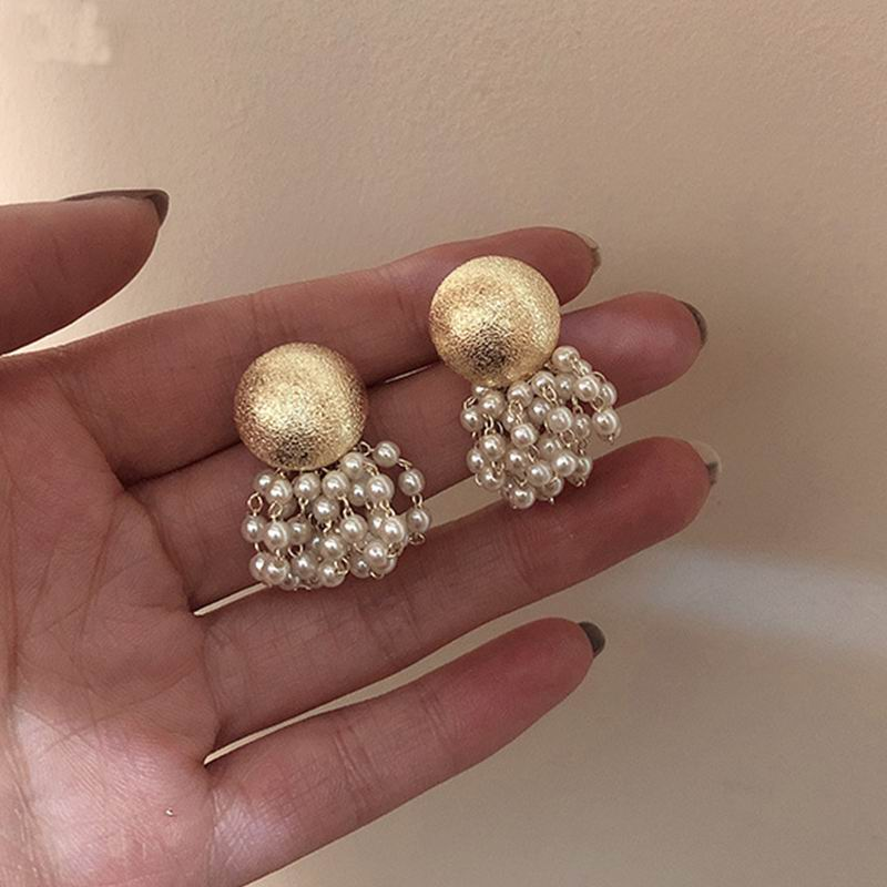 Gold Color Big Metal Button Beaded Imitation Pearl Beads Tassel Earrings For Women New Korean Fashion Drop Pendientes Brincos