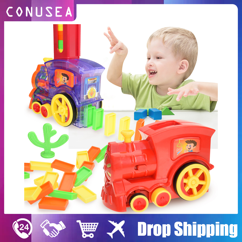 Kids Toy Domino Train Car Set Sound Light Automatic Laying Domino Brick Colorful Dominoes Blocks Game Toys Set Educational Toys