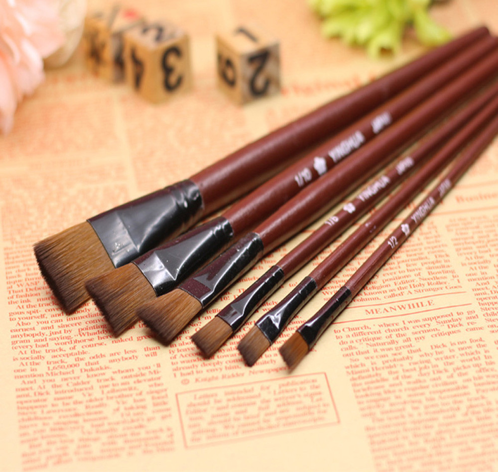 Watercolor Paint Brushes Set Pack Of 6 Art Brown Nylon Paint Brushes For Acrylic Art Supplies SWWQ