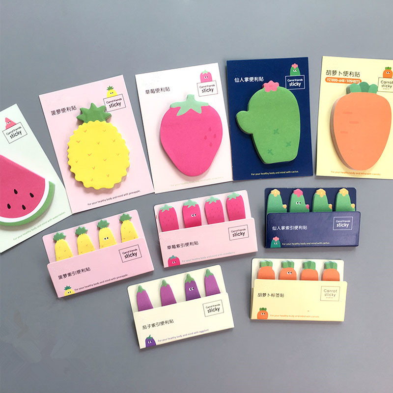 Kawaii Fruit Vegetables Memo Pad Mini Post It Sticky Notes Office Planner Sticker Paper Korean Stationery Office School Supplies