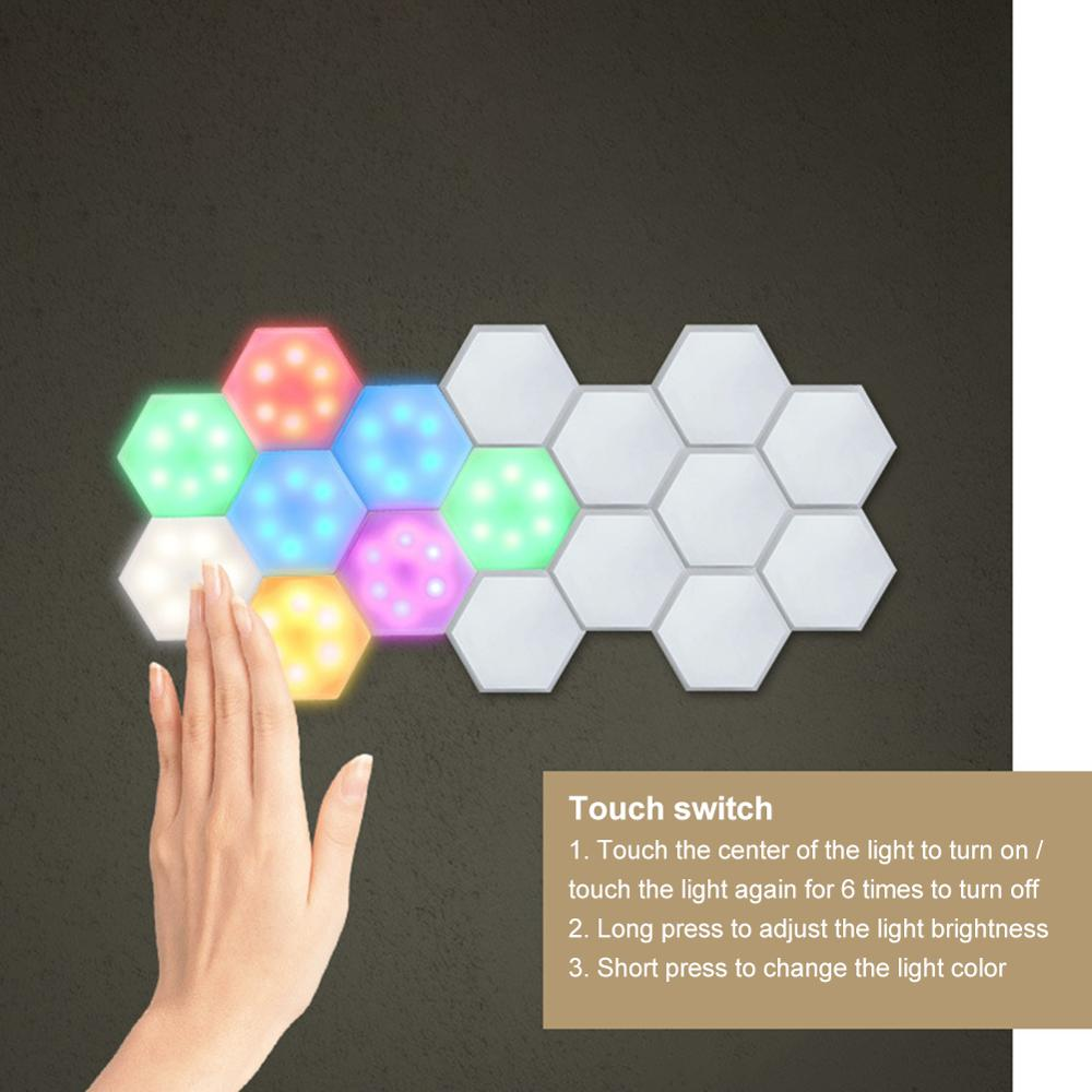 6PCS LED Quantum Hexagonal Wall Lamp with Remote Control Creative Night Light Touch Sensitive Quantum Lamp Modular Wall Lampara|LED Indoor Wall Lamps|   - AliExpress