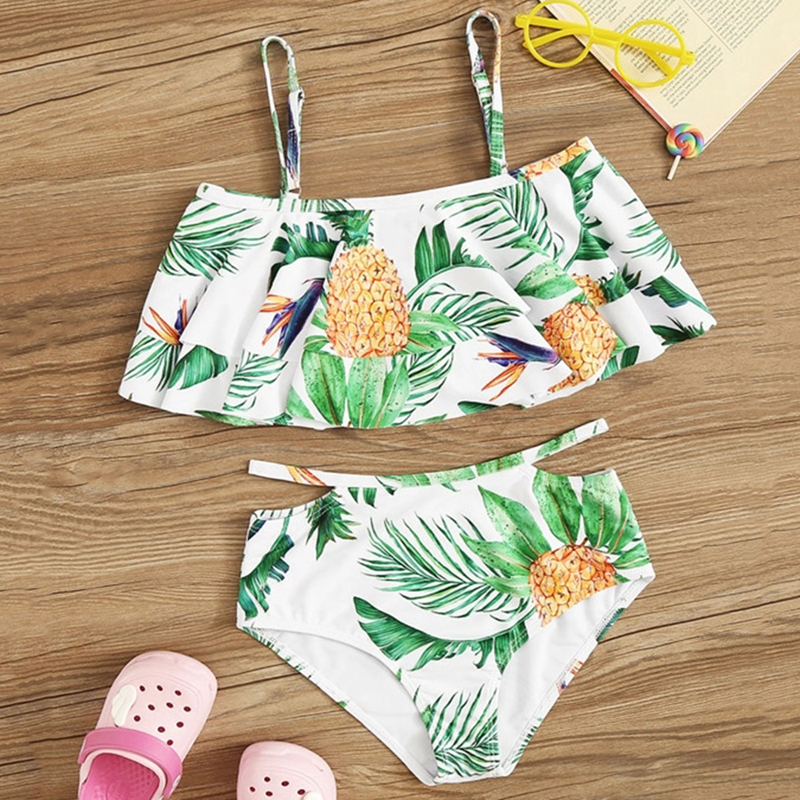 Two Pieces Lovely Baby Girls Swimsuit Ruffle Floral Bikinis Set New Kids Child Print Swimwear High Waist Bathing Suit Beachwear