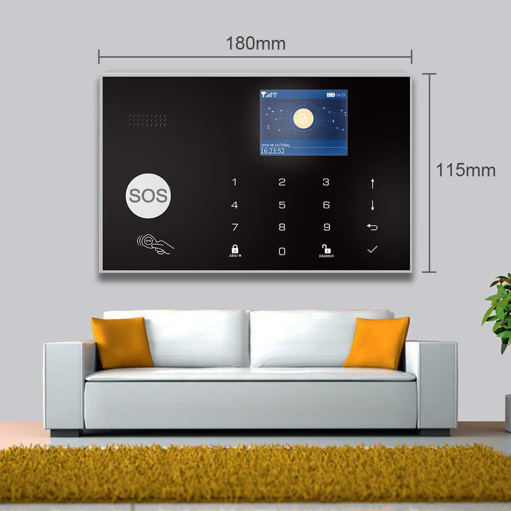Tuya akıllı 433MHz GSM 3G 4G kablosuz WIFI Alarm sistemi hırsız güvenlik ev Alarm sistemi ile duman dedektörü ve IP kamera