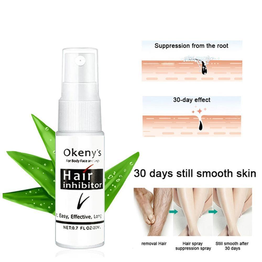 Permanent Hair Removal Inhibitor Spray Painless Beard Legs Armpit Smooth Repair Skin Facial Pubic Hair Stop Growth Spray