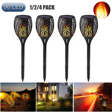96 Led Solar Flame Licht Tuin Decoratie Flickering Torch Landschap Gazon Lamp Voor Binnenplaats Pad Outdoor Waterdicht Spotlight(China)