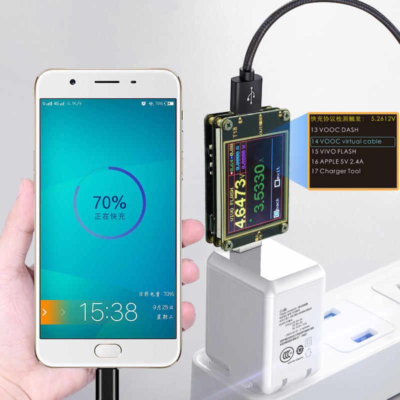 T18-X6 USB tester napięcie prądu woltomierz miernik HD kolor QC4 + PD3.0 QC2.0/QC3.0 PPS protokół szybkiego ładowania pojemność test