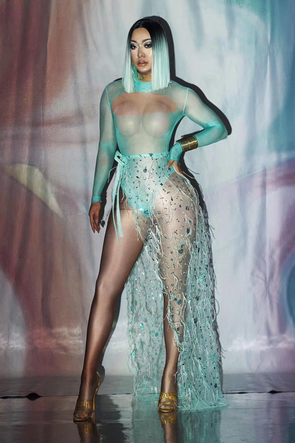 Green Sequins Mesh Feather Long skirt Bodysuit Outfit Bar Women Dance Prom Bodysuit Singer Show Wear Outfit Set