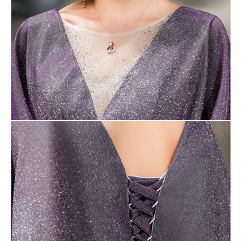 Elegant Evening Dress Purple Mermaid Long Women Party Dresses O-Neck Half Sleeve Formal Gowns Shawl Shining Robe De Soiree K199 6