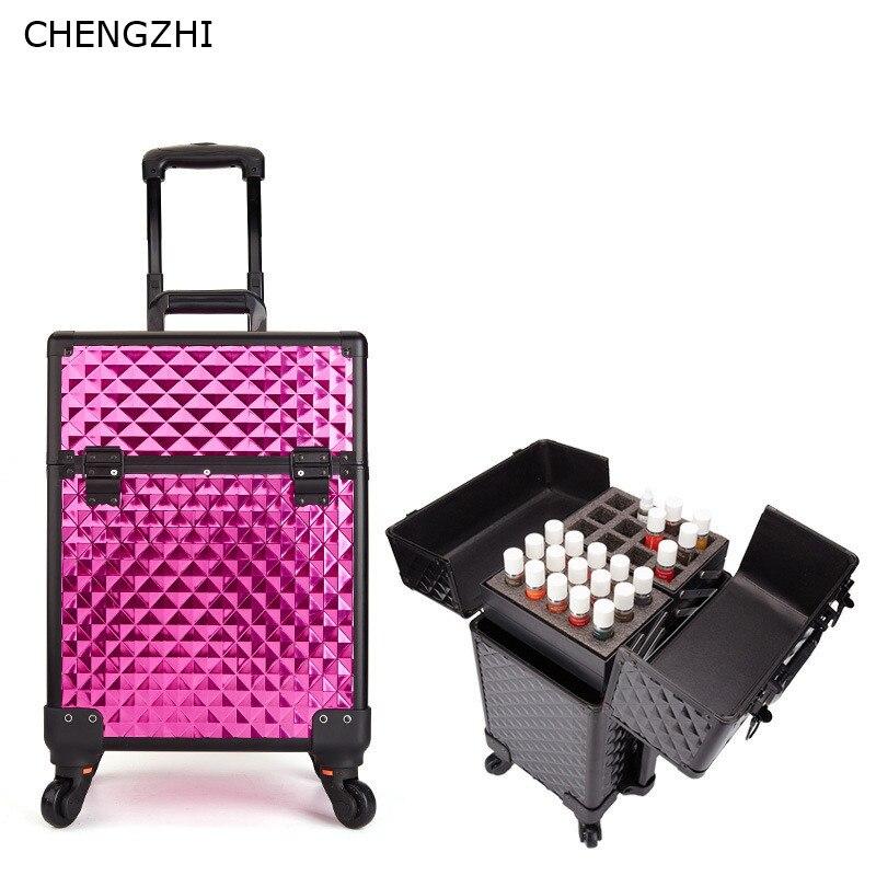 CHENGZHI Mulheres Multifuncionais rolling bagagem girador maquiagem trolley caso cosmetic sobre rodas