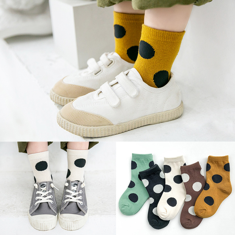 5-Pair Pack Boy Socks Cotton Socks Girl's Socks Autumn and Winter Big Polka Dot Color Matching Socks Children's Cotton Socks 4