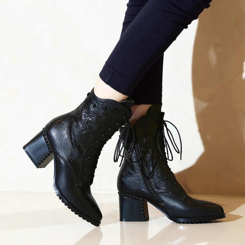 2019 frauen knöchel warme stiefel kuh leder Rom stil braun farbe spitz 6cm high heels herbst frühling stiefel frauen stiefel