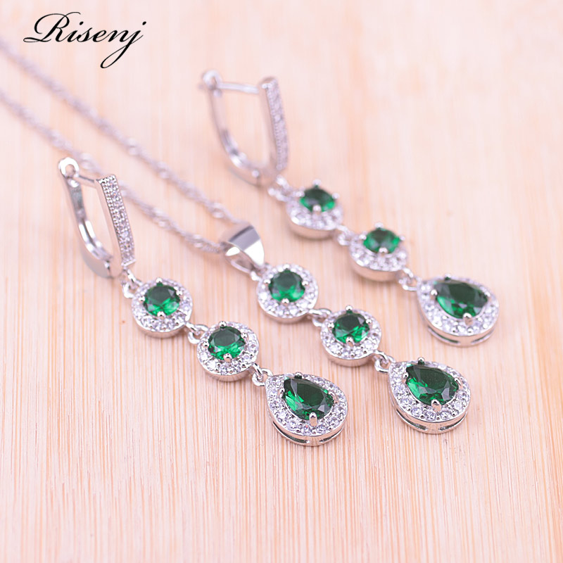 Risenj Many Colors Top Zircon & Crystal Silver Color Costume Jewelry Set Water Drop & Round Earrings Necklace Pendant Set