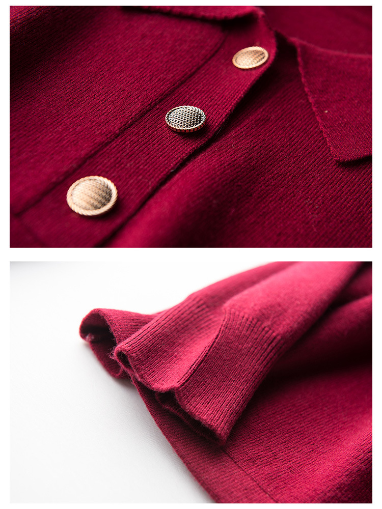 Весна и осень Новый красный шерстяной свитер блузка воротник