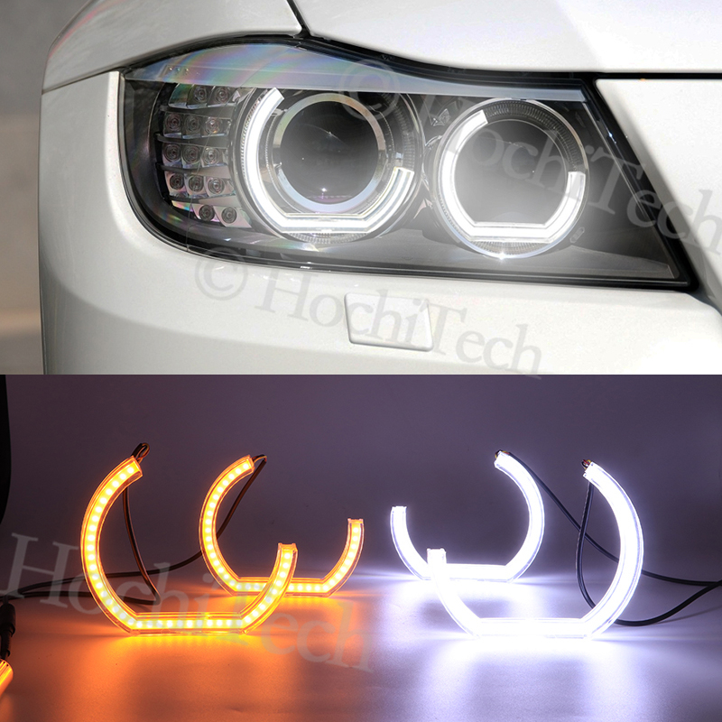 LED Angel Eyes For BMW 3 Series E91 E90 LCI 2009-2012 Xenon headlights Car Lights Accessories Halo 3D DTM LCI Style Acrylic image