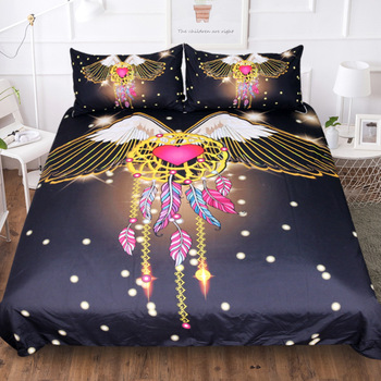 BEST.WENSD King Size Bedding Set Galaxy/starry Sky Dream Catcher Bed Linen Set 220x240cm Duvet Cover Set Cotton Super King Bed