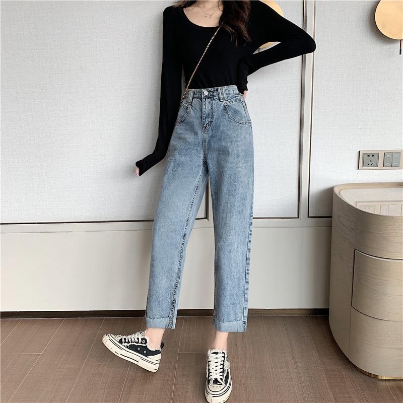 S-XL 2 Colors 2020 Spring Korean Chic Style Women Harem Denim Pants Roll Up High Waist Jeans For Women Straight Pants (Z8005)