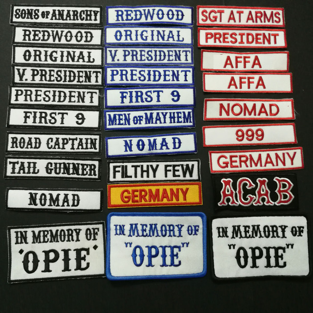 SONS OF NOMAD ORIGINAL V PRESIDENT REDWOOD FRIST 9 IN MEMEORY OF OPIE ACAB AFFA Embroidered ANARCHY PATCHES applique BADGES