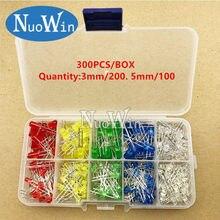 Diodo emissor de luz 5 cores componentes eletrônicos 3mm/5mm, cor variada, diy, conjunto de diodo emissor de luz caixa de caixa