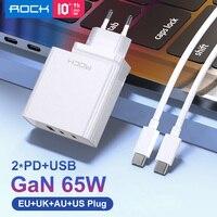 Rock-carregador gan de 65w para laptop, iphone 12, mini, 12 pro max, macbook, dell, 3 portas usb, tipo c, qc 4.0, rápido pd, parede, carregador para xiaomi