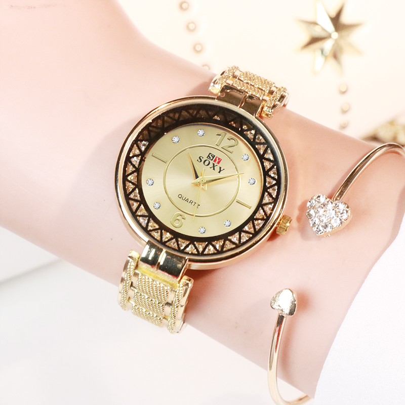 Rhinestone Fashion Women Watches SOXY Brand Gold Watch Women Bracelet Wristwatches Stainless Steel Ladies Clock Reloj Mujer