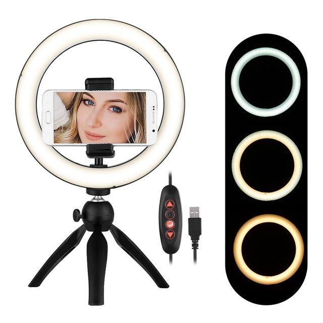 4.6/8.6 pouces 60/120 LED vidéo anneau lumière lampe avec support de smartphone pour téléphone avec mini trépied support lumière LED pour la photographie