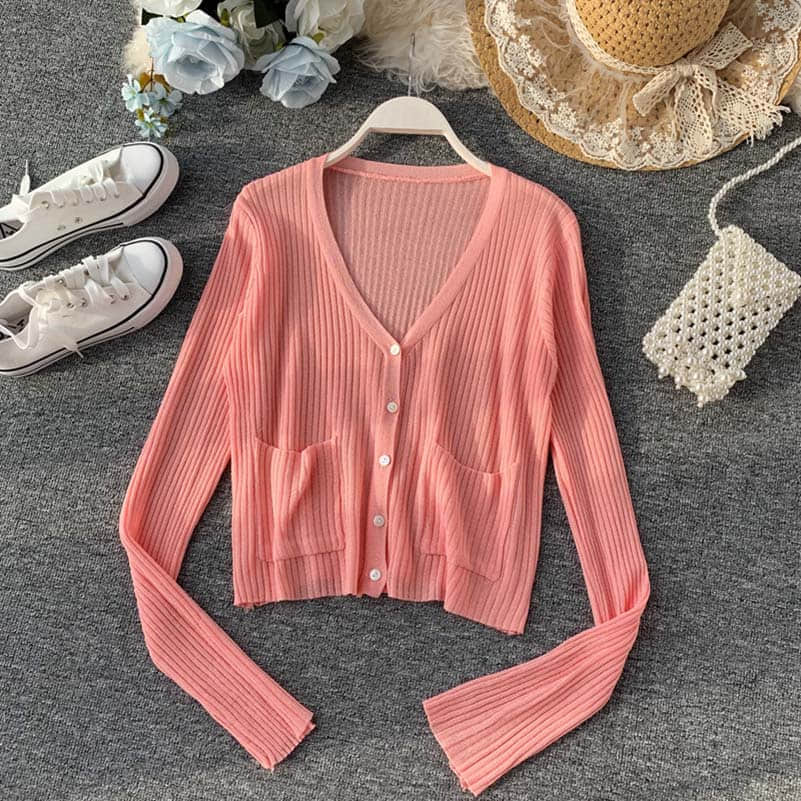 NiceMix Spring Autumn Cardigan Women Casual Sweater Ladies Tops V neck Long Sleeve Single Breasted Thin Cardigans Feminino in Cardigans from Women 39 s Clothing