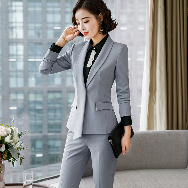 Lenshin Formal Asymmetrical Gray Pant Suit for Women Work Wear Office Lady Elegant Style Business Jacket with Pants Sets 20