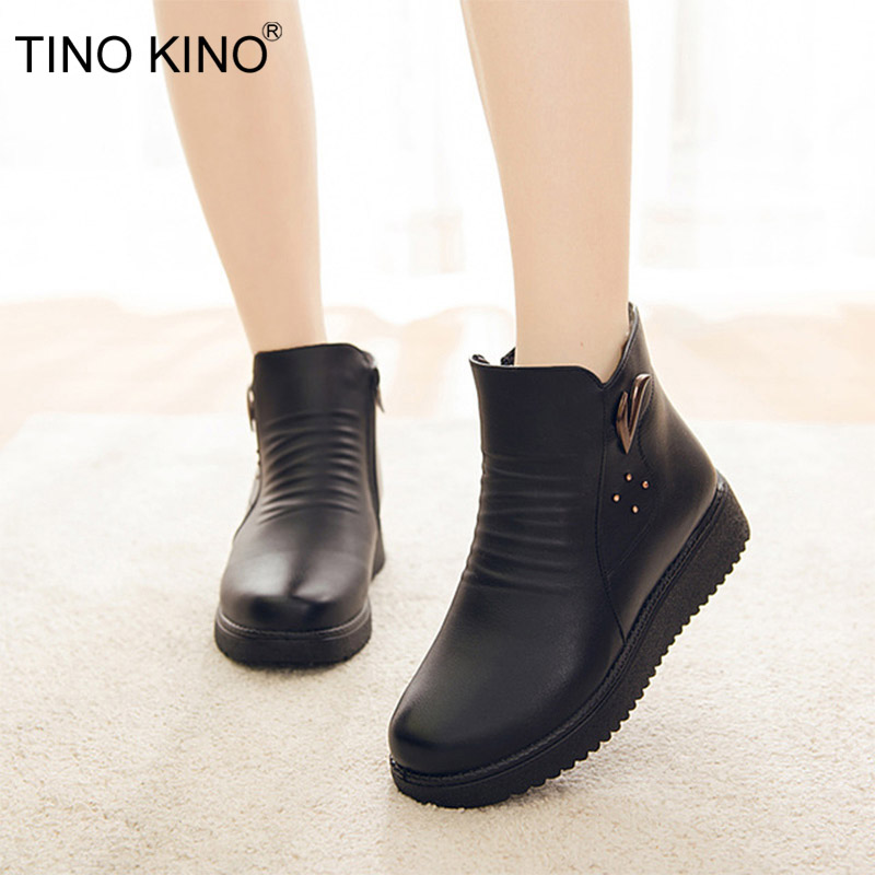 TINO KINO 2020 Women PU Leather Plush Warm Zipper Ankle Boots Casual Wedges Female Shoes Black Fashion Non Slip Mother Footwear