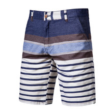 2020 New Summer Shorts Men Cotton Knee Length Striped Beach